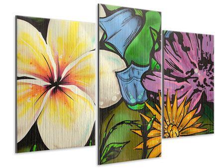Metallic-Bild 3-teilig modern Graffiti Flowers