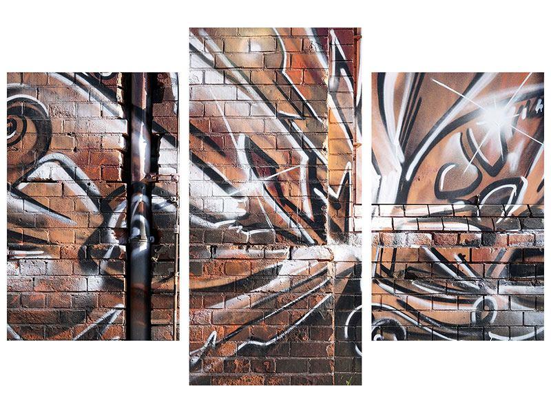 Metallic-Bild 3-teilig modern Graffiti Mauer