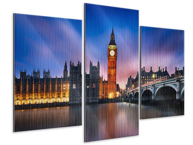 Metallic-Bild 3-teilig modern Nachts am Big Ben