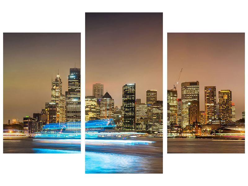 Metallic-Bild 3-teilig modern Skyline Sydney im Lichtermeer