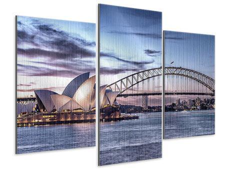 Metallic-Bild 3-teilig modern Skyline Sydney Opera House