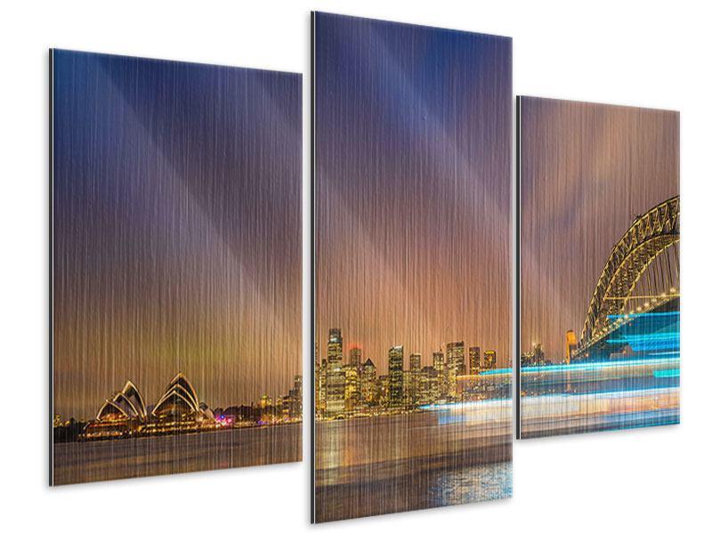 Metallic-Bild 3-teilig modern Skyline Opera House in Sydney im Abendlicht