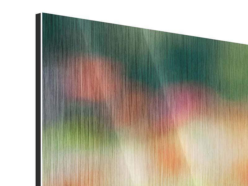 Metallic-Bild 3-teilig modern Im Blumengarten