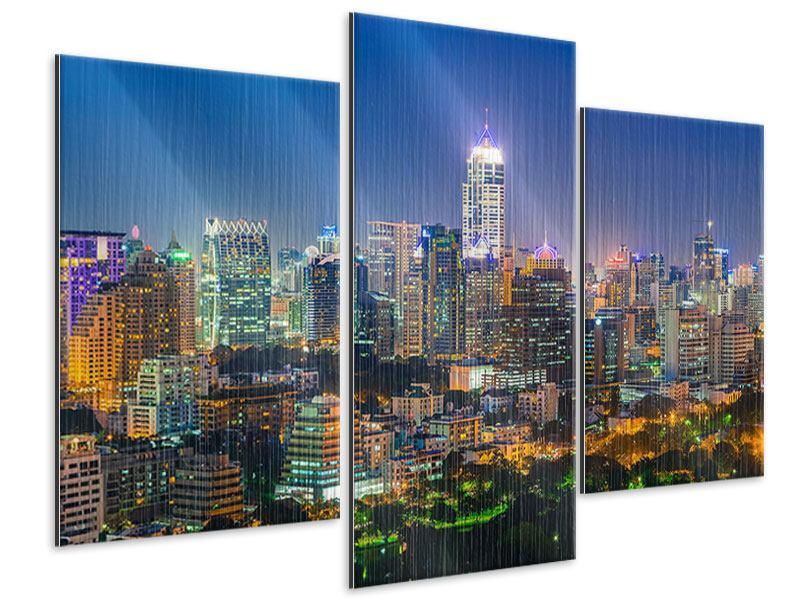 Metallic-Bild 3-teilig modern Skyline One Night in Bangkok