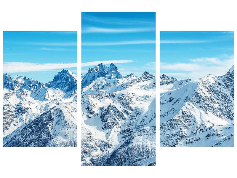 Metallic-Bild 3-teilig modern Alpenpanorama