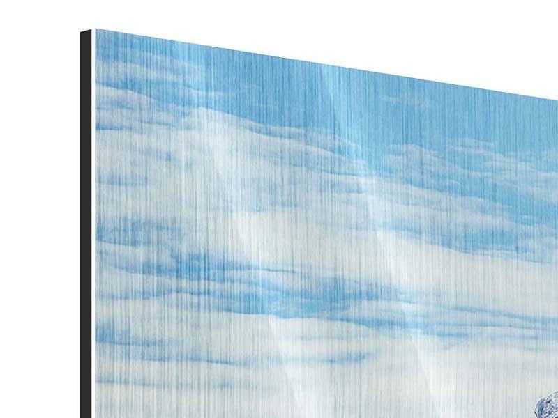Metallic-Bild 3-teilig modern Friedliche Bergstimmung