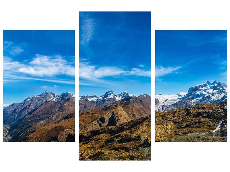 Metallic-Bild 3-teilig modern Schweizer Alpen im Frühling