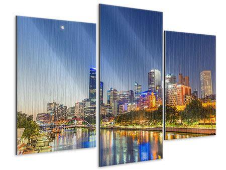 Metallic-Bild 3-teilig modern Skyline Sydney in der Abenddämmerung