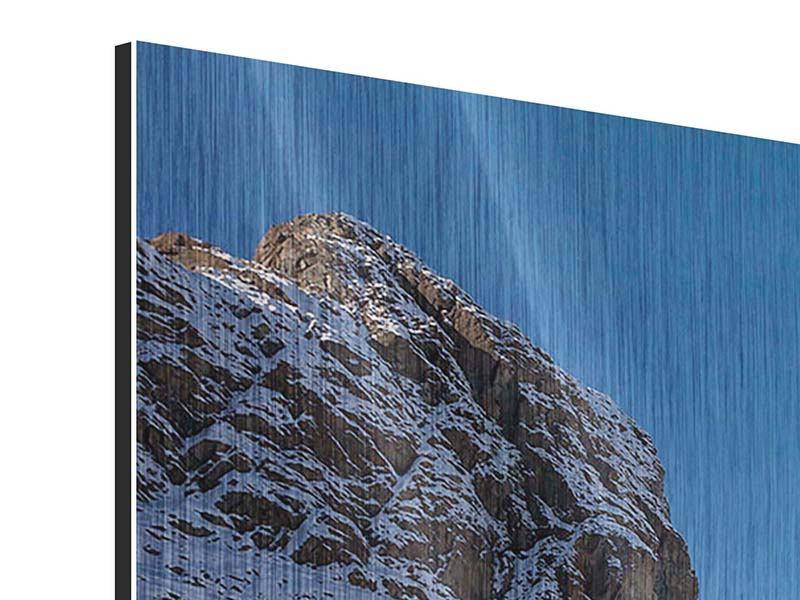 Metallic-Bild 3-teilig modern Der Riffelsee am Matterhorn