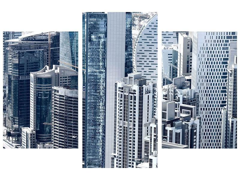 Metallic-Bild 3-teilig modern Die Wolkenkratzer von Dubai