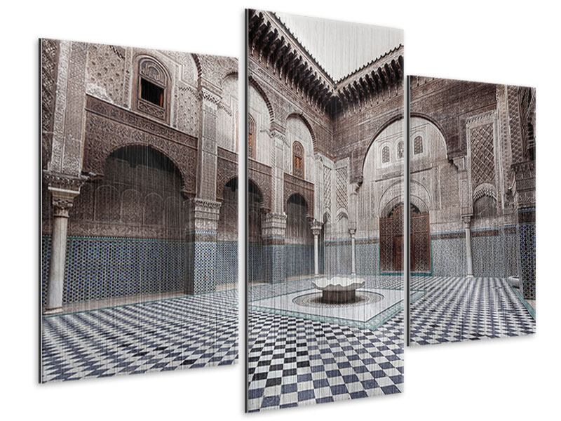 Metallic-Bild 3-teilig modern Orientalischer Hinterhof