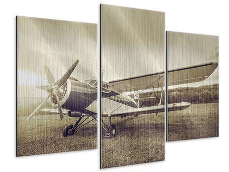 Metallic-Bild 3-teilig modern Nostalgisches Flugzeug im Retrostyle