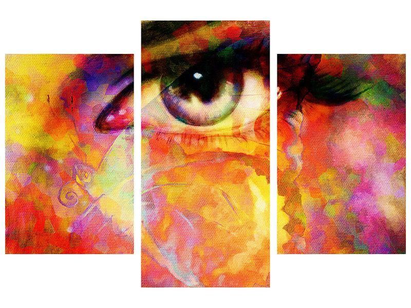 Metallic-Bild 3-teilig modern Das Auge