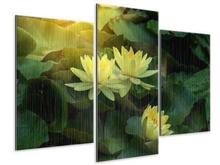 Metallic-Bild 3-teilig modern Wilde Lotus