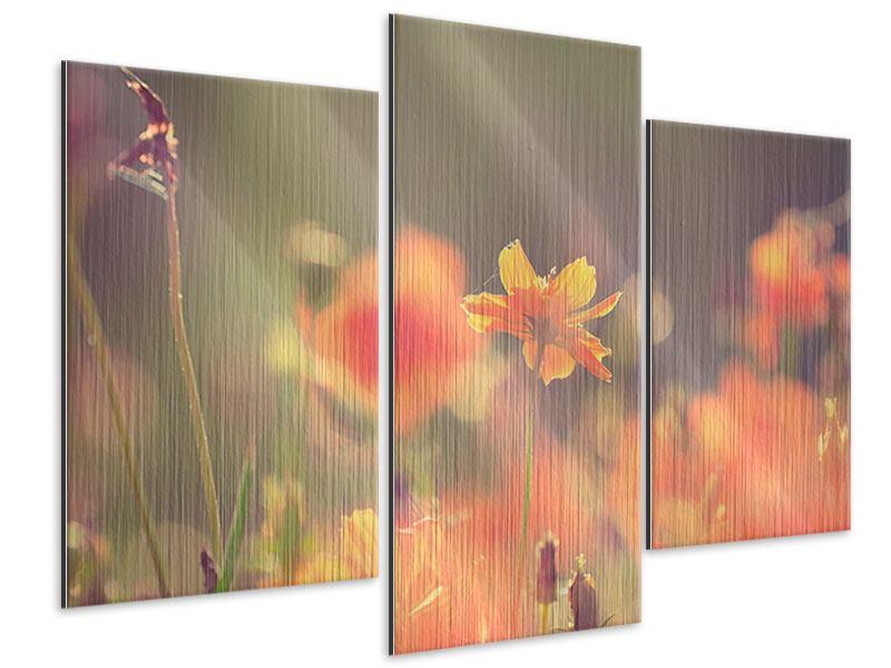 Metallic-Bild 3-teilig modern Blütenpracht