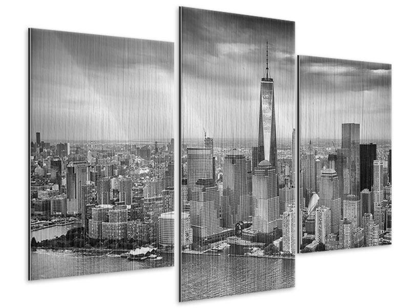 Metallic-Bild 3-teilig modern Skyline Schwarzweissfotografie New York