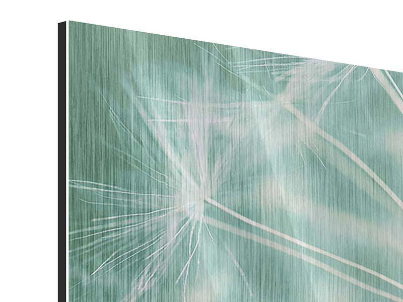 Metallic-Bild 3-teilig modern Close Up Pusteblume
