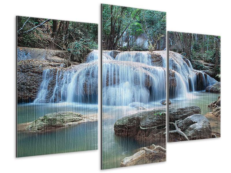 Metallic-Bild 3-teilig modern Ein Wasserfall