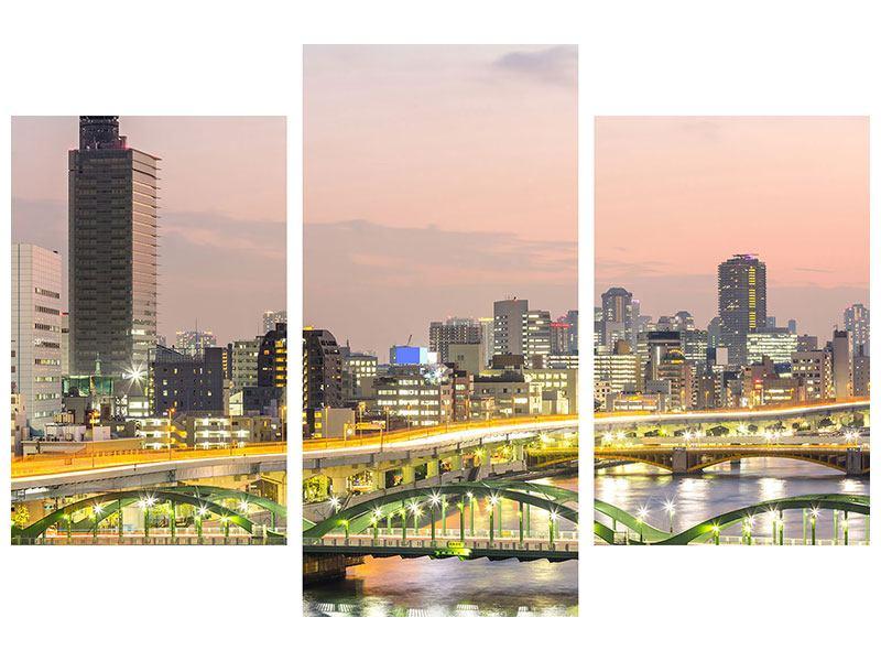 Metallic-Bild 3-teilig modern Skyline Das Lichtermeer von Tokio
