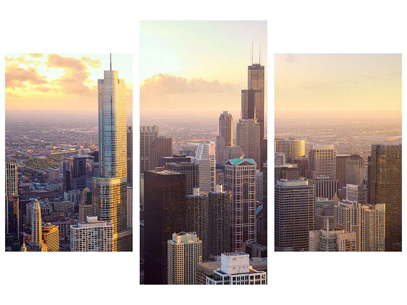 Metallic-Bild 3-teilig modern Skyline Chicago