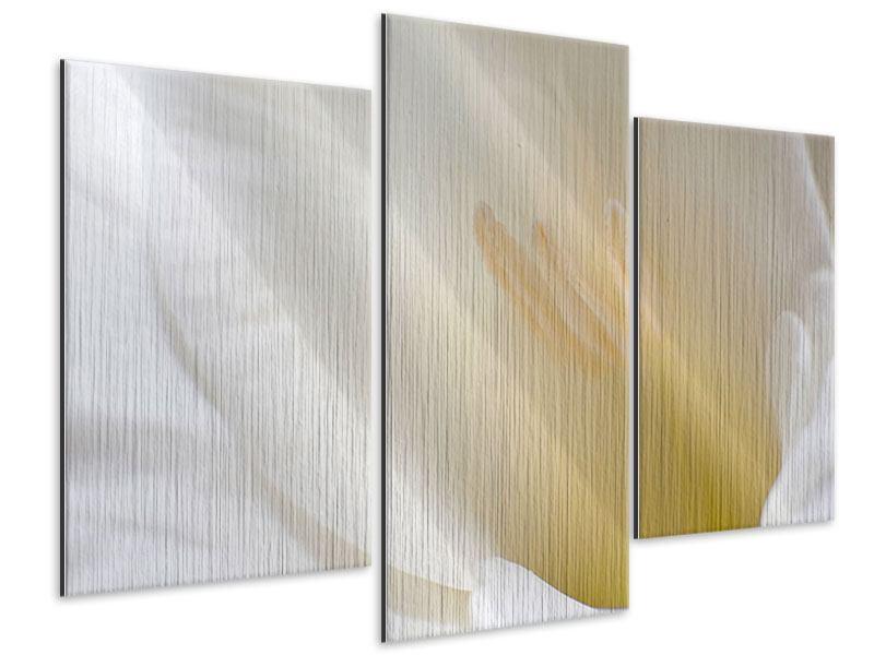 Metallic-Bild 3-teilig modern In einer Blüte