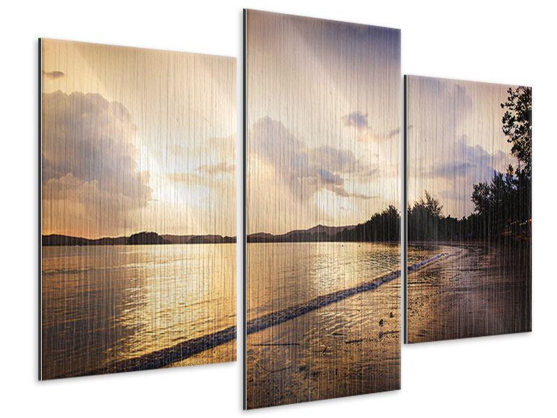 Metallic-Bild 3-teilig modern Das Ufer