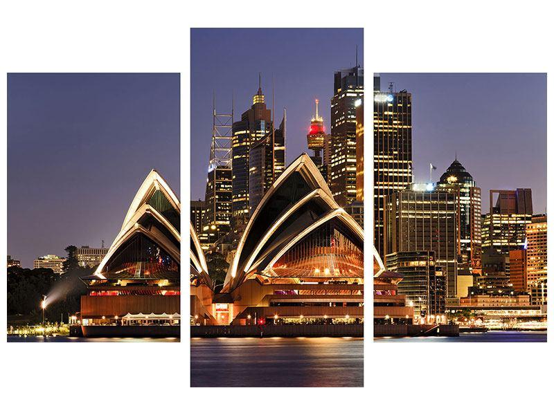 Metallic-Bild 3-teilig modern Skyline Mit dem Boot vor Sydney