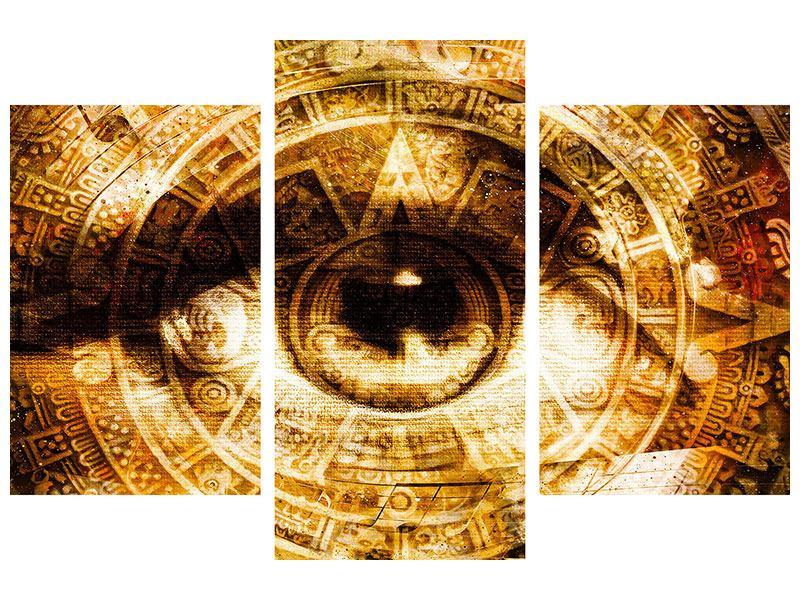 Metallic-Bild 3-teilig modern Fraktales Auge