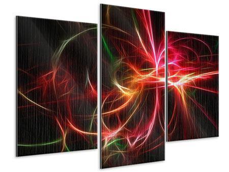 Metallic-Bild 3-teilig modern Fraktales Lichtspektakel