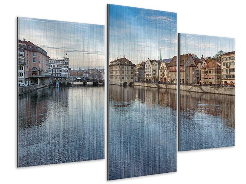 Metallic-Bild 3-teilig modern Kosmopolitisches Zürich