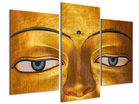 Metallic-Bild 3-teilig modern Die Augen eines Buddhas