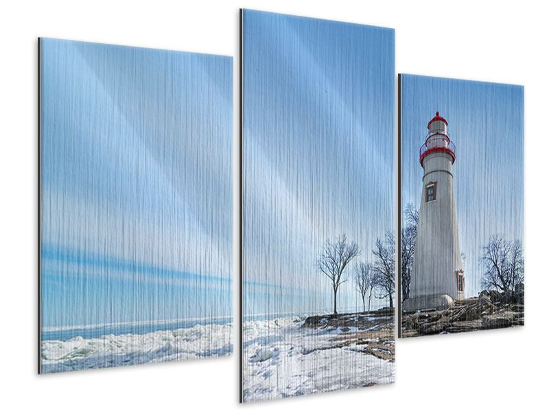 Metallic-Bild 3-teilig modern Leuchtturm im Schnee