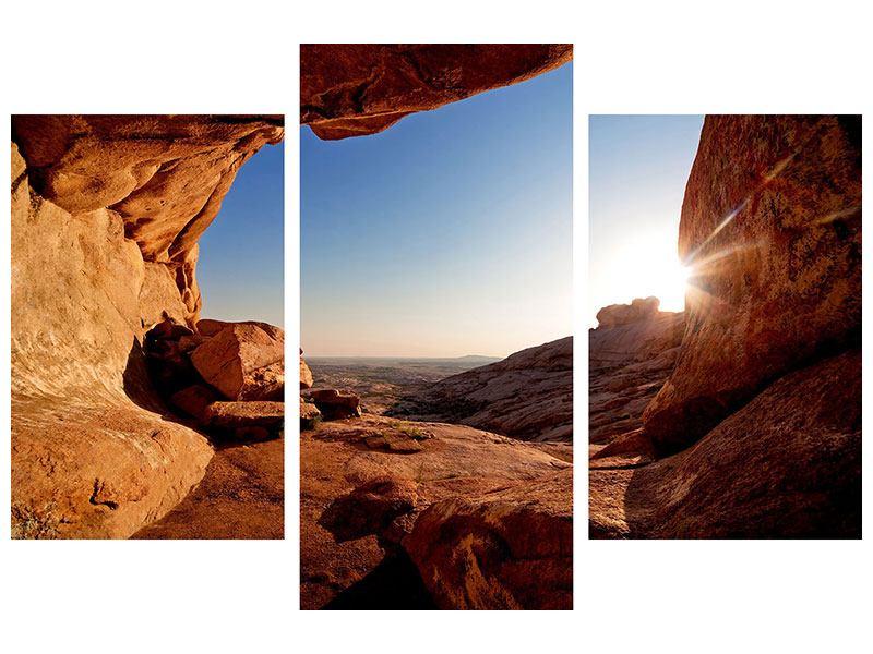 Metallic-Bild 3-teilig modern Sonnenuntergang vor der Höhle