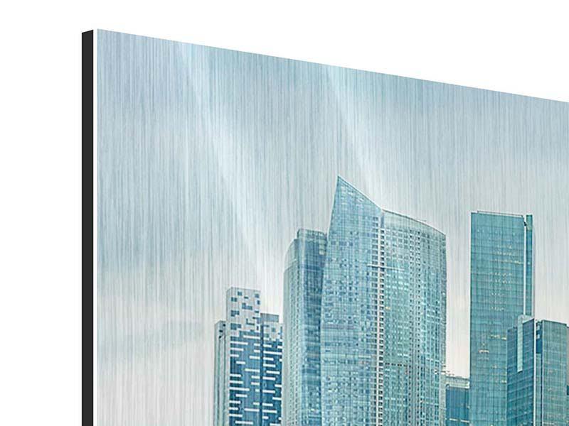 Metallic-Bild 3-teilig modern Skyline Sonnenaufgang in Singapur