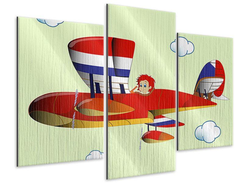 Metallic-Bild 3-teilig modern Der fliegende Junge