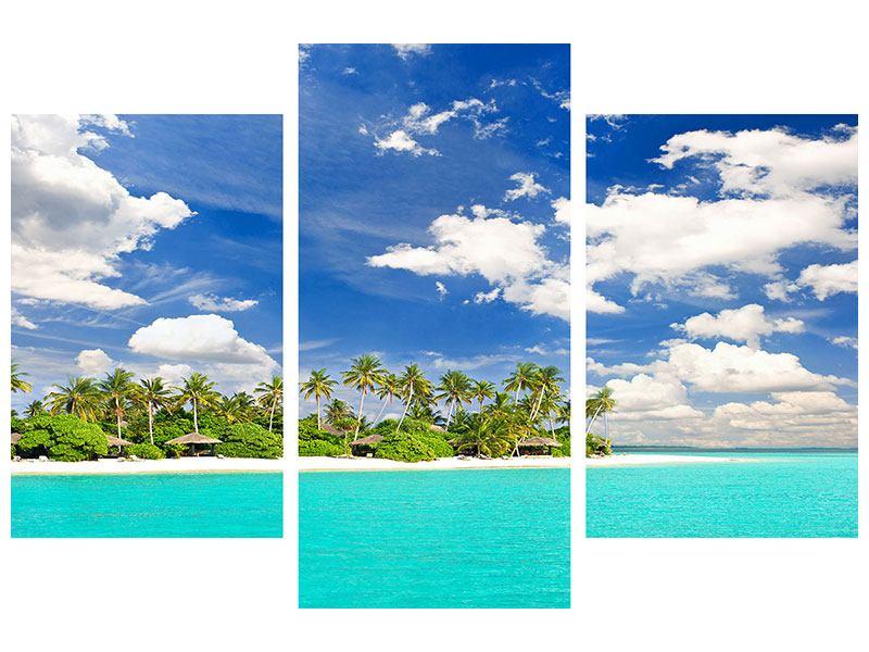 Metallic-Bild 3-teilig modern Meine Insel