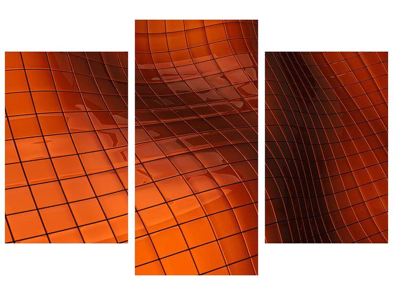 Metallic-Bild 3-teilig modern 3D-Kacheln