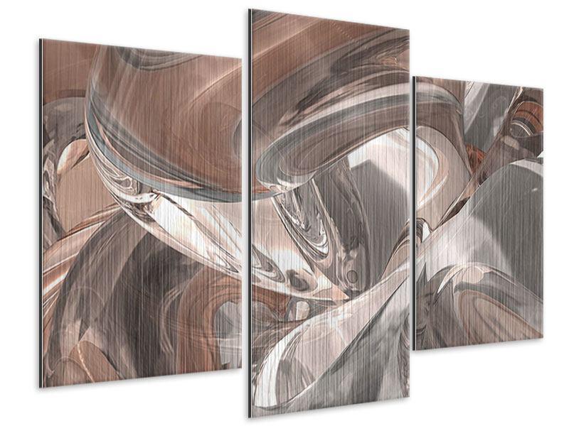 Metallic-Bild 3-teilig modern Abstraktes Glasfliessen