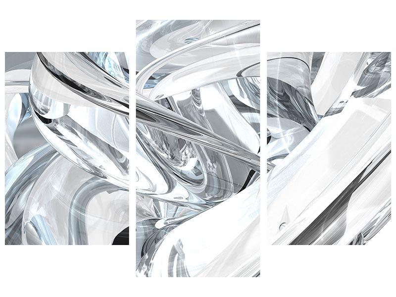 Metallic-Bild 3-teilig modern Abstrakte Glasbahnen