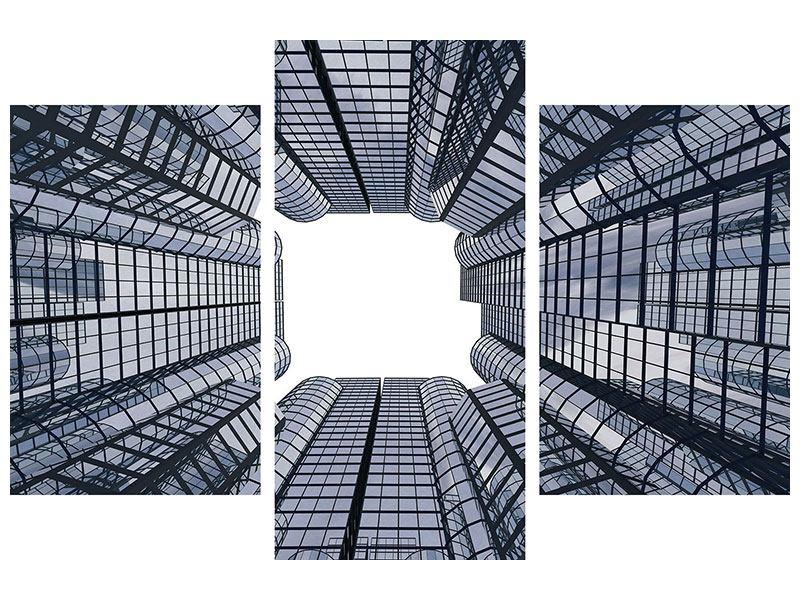 Metallic-Bild 3-teilig modern Besondere Perspektive