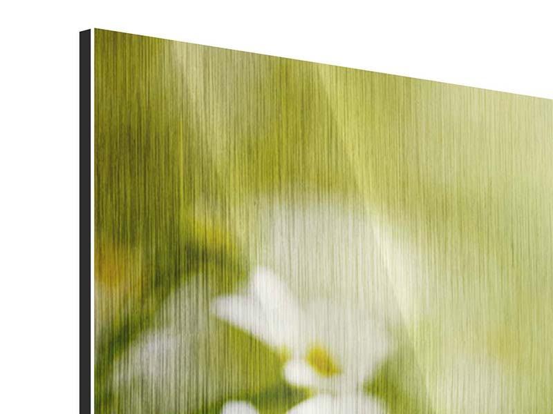 Metallic-Bild 3-teilig modern Die Gänseblümchen