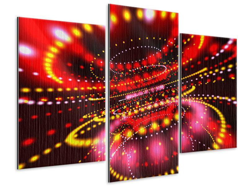 Metallic-Bild 3-teilig modern Abstraktes Lichtspiel