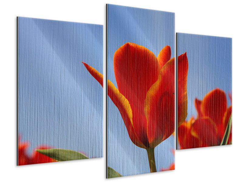 Metallic-Bild 3-teilig modern Rote Tulpen in XXL
