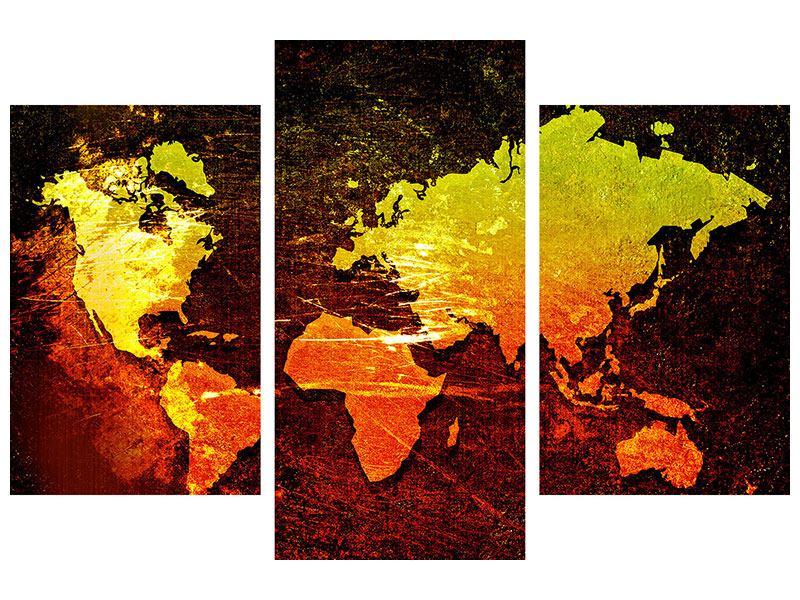 Metallic-Bild 3-teilig modern Retro-Weltkarte