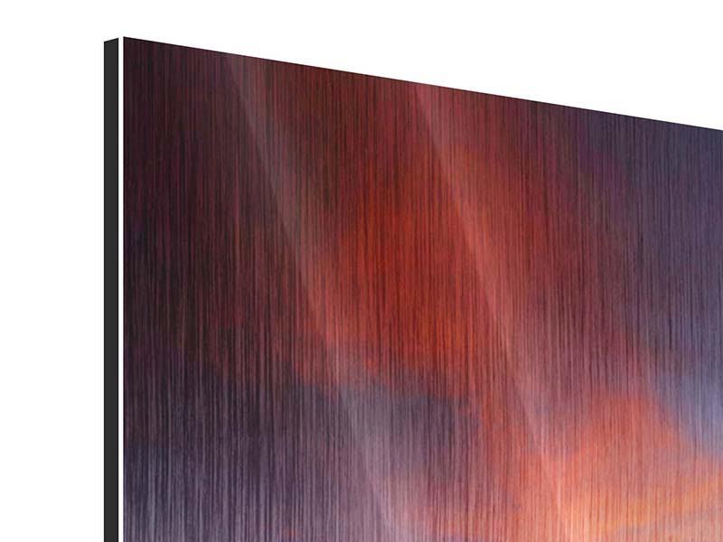 Metallic-Bild 3-teilig modern Ein Sonnenuntergang am Meer