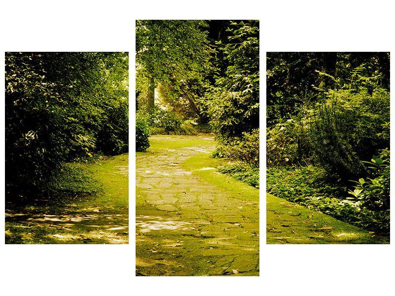 Metallic-Bild 3-teilig modern Der bemooste Weg