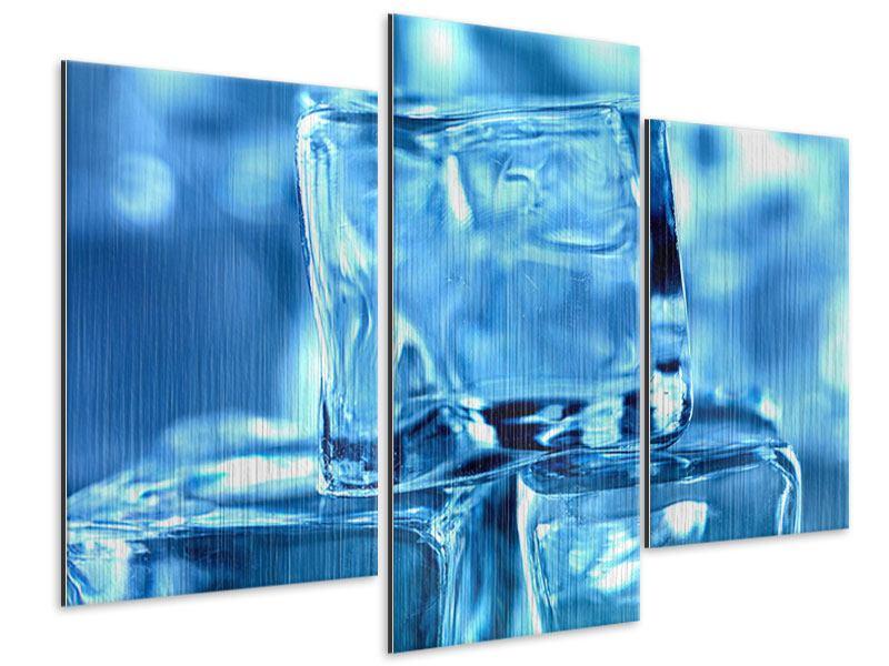 Metallic-Bild 3-teilig modern Eiswürfel XXL
