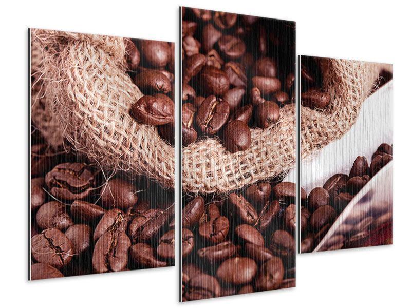 Metallic-Bild 3-teilig modern XXL Kaffeebohnen