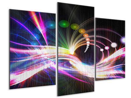 Metallic-Bild 3-teilig modern Abstrakte Lichtreflexe