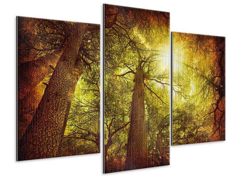 Metallic-Bild 3-teilig modern Cedar Baum